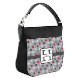 Red & Gray Polka Dots Hobo Purse w/ Genuine Leather Trim (Personalized)