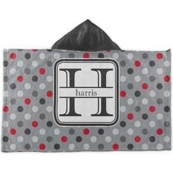 Red & Gray Polka Dots Kids Hooded Towel (Personalized)
