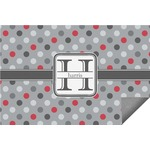 Red & Gray Polka Dots Indoor / Outdoor Rug (Personalized)
