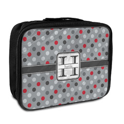 Red & Gray Polka Dots Insulated Lunch Bag (Personalized)