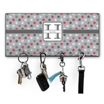 Red & Gray Polka Dots Key Hanger w/ 4 Hooks w/ Name and Initial