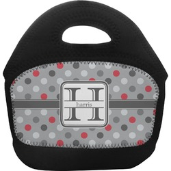 Red & Gray Polka Dots Toddler Lunch Tote (Personalized)