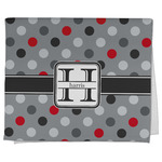 Red & Gray Polka Dots Kitchen Towel - Full Print (Personalized)