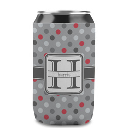 Red & Gray Polka Dots Can Sleeve (12 oz) (Personalized)
