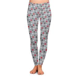 Red & Gray Polka Dots Ladies Leggings (Personalized)