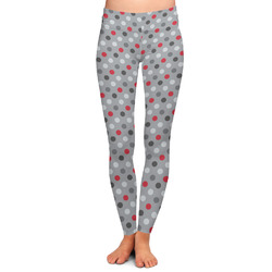 Red & Gray Polka Dots Ladies Leggings - Extra Large (Personalized)