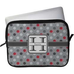 """Red & Gray Polka Dots Laptop Sleeve / Case - 15"""" (Personalized)"""