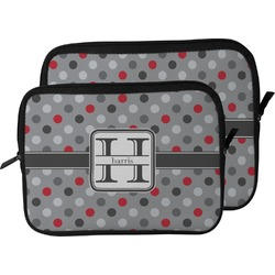 Red & Gray Polka Dots Laptop Sleeve / Case (Personalized)