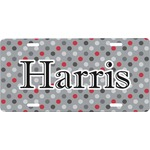 Red & Gray Polka Dots Front License Plate (Personalized)