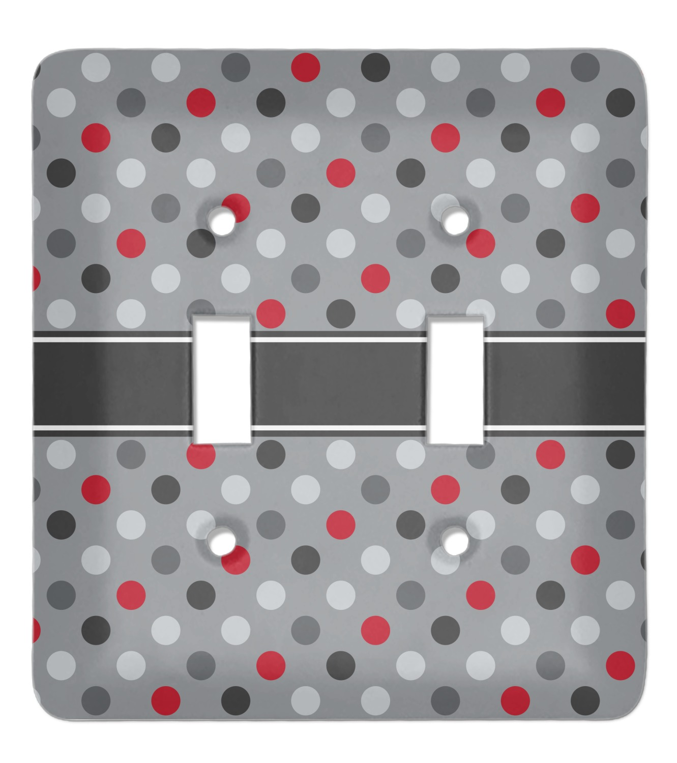 Red Gray Polka Dots Light Switch Cover 2 Toggle Plate