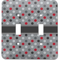 Red & Gray Polka Dots Light Switch Cover (2 Toggle Plate) (Personalized)