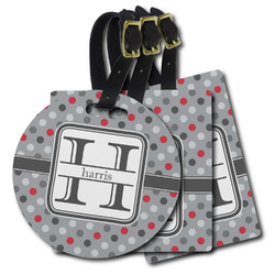 Red & Gray Polka Dots Plastic Luggage Tags (Personalized)
