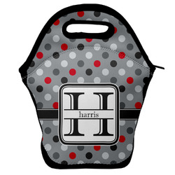 Red & Gray Polka Dots Lunch Bag w/ Name and Initial
