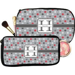 Red & Gray Polka Dots Makeup / Cosmetic Bag (Personalized)