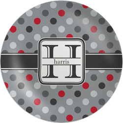 """Red & Gray Polka Dots Melamine Plate - 8"""" (Personalized)"""