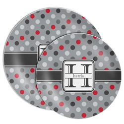 Red & Gray Polka Dots Melamine Plate (Personalized)