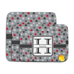 Red & Gray Polka Dots Memory Foam Bath Mat (Personalized)