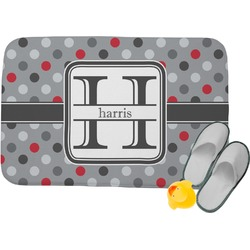 Red & Gray Polka Dots Memory Foam Bath Mat (Personalized)