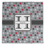 Red & Gray Polka Dots Large Microfiber Dish Rag (Personalized)