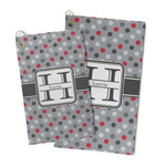 Red & Gray Polka Dots Microfiber Golf Towel (Personalized)
