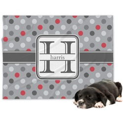 Red & Gray Polka Dots Minky Dog Blanket (Personalized)
