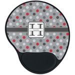 Red & Gray Polka Dots Mouse Pad with Wrist Support