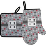 Red & Gray Polka Dots Oven Mitt & Pot Holder (Personalized)