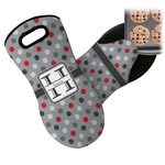 Red & Gray Polka Dots Neoprene Oven Mitt (Personalized)