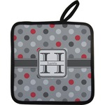 Red & Gray Polka Dots Pot Holder w/ Name and Initial