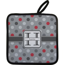 Red & Gray Polka Dots Pot Holder (Personalized)