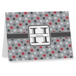 Red & Gray Polka Dots Note cards (Personalized)
