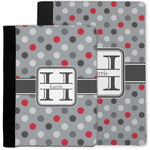 Red & Gray Polka Dots Notebook Padfolio w/ Name and Initial