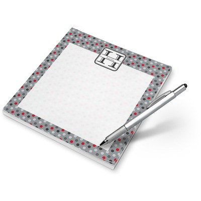 Red & Gray Polka Dots Notepad (Personalized)