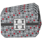 Red & Gray Polka Dots Dining Table Mat - Octagon w/ Name and Initial