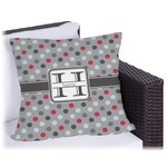 Red & Gray Polka Dots Outdoor Pillow (Personalized)