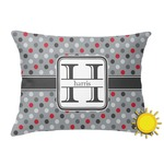 Red & Gray Polka Dots Outdoor Throw Pillow (Rectangular) (Personalized)