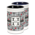 Red & Gray Polka Dots Ceramic Pencil Holder - Large