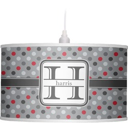 Red & Gray Polka Dots Drum Pendant Lamp (Personalized)