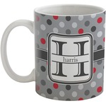 Red & Gray Polka Dots Coffee Mug (Personalized)