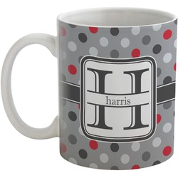 Red & Gray Polka Dots Coffee Mug (Personalized)
