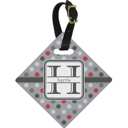 Red & Gray Polka Dots Diamond Luggage Tag (Personalized)