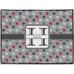 Red & Gray Polka Dots Door Mat (Personalized)