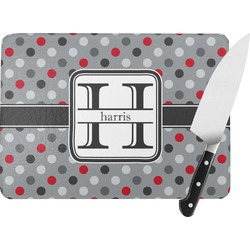 Red & Gray Polka Dots Rectangular Glass Cutting Board (Personalized)