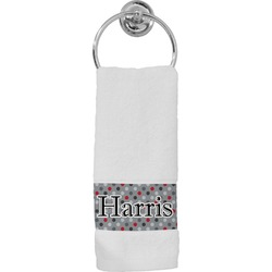 Red & Gray Polka Dots Hand Towel (Personalized)