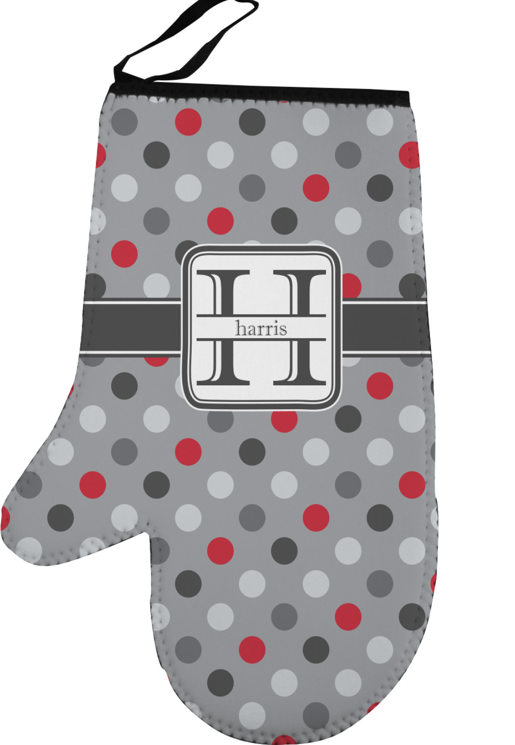 Red Gray Polka Dots Left Oven Mitt Personalized