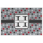 Red & Gray Polka Dots Laminated Placemat w/ Name and Initial