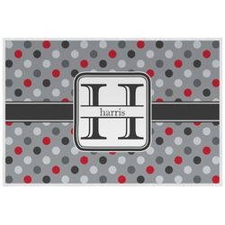 Red & Gray Polka Dots Placemat (Laminated) (Personalized)