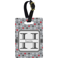 Red & Gray Polka Dots Rectangular Luggage Tag (Personalized)