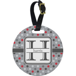 Red & Gray Polka Dots Plastic Luggage Tag - Round (Personalized)