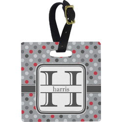 Red & Gray Polka Dots Square Luggage Tag (Personalized)
